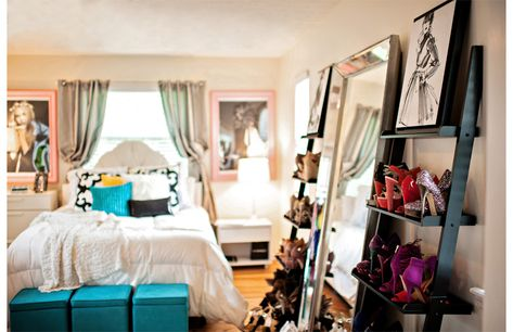lean a beautiful full length mirror on the wall and flank it with bookshelves for shoe storage