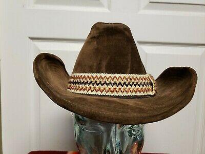 Gw Brown Western Hat Size 7 7 1 8 Cowboy Rockabilly Grunge Wide Hat Band Ebay Western Hats Hat Band Hat Sizes