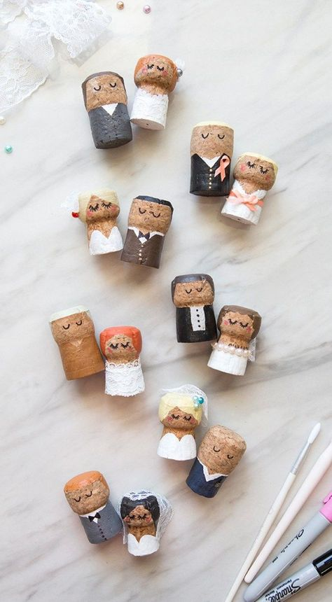 You HAVE To See These DIY, Painted Champagne Cork Bride + Groom! turkishfoodsrecipes.com #bride #champagne #groom #painted #these #turkishfoodsrecipes