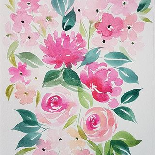 Bouquet Rose Aquarelle Watercolor Watercolorpainting