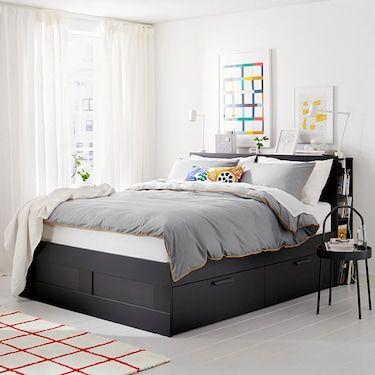 Brimnes Cadre De Lit Rangement Tete De Lit Noir 160x200 Cm Ikea Bedkader Ikea Bed Bedden Opslag
