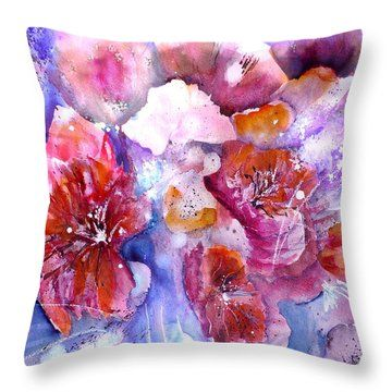 Spring Meadow In Light Throw Pillow From Original Watercolor Paitning By Sabina Von Arx Fineart4you Spring Meadow In Light Red Spring Flowers Spring Flowers
