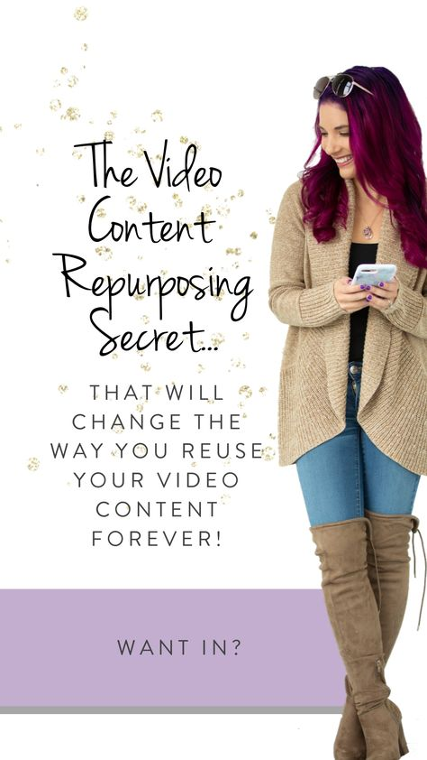 The video content repurposing secret that will change the way you reuse/recycle your video content forever! A complete step-by-step process of taking ONE video (your Facebook live as an example) and turning it in to THIRTY (30) pieces of content! Want in?