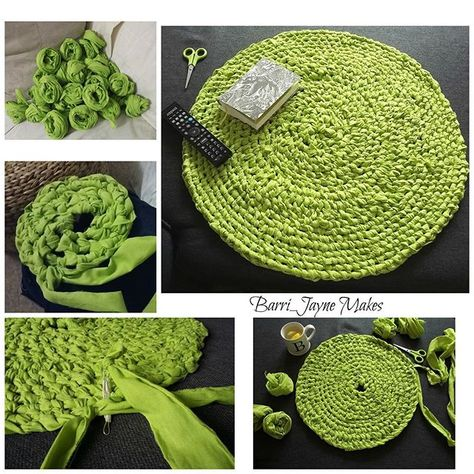 Rag Rug Tutorial, Braided Rug Tutorial, Tutorial Crochet, Toothbrush Rug, Rag Rug Diy, Homemade Rugs, Braided Rag Rugs, Doily Rug, Fabric Rug