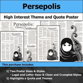 Persepolis The Story Of A Childhood Theme Quote Poster For Bulletin Boards Quote Posters Workbook Cover Quotes