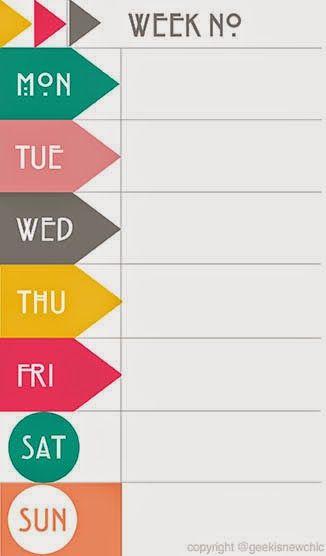 fun printable weekly calendar 2014