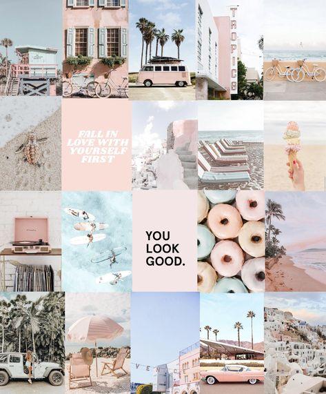 Pink Peach Beach photo art collage pack