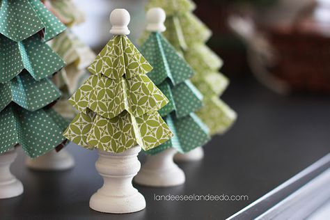 Folded paper trees. cute!