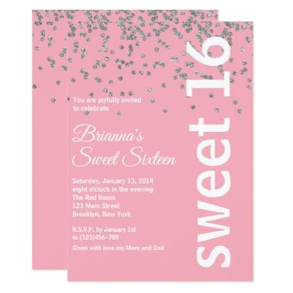 Pink And Silver Foil Dots Sweet 16 Invitation Birthday Cards Invitations Party Diy Personaliz Sweet 16 Invitations Sweet 16 Invitations Blue Pink Invitations