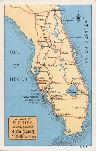Boca Grande Florida Map A Map of Florida Showing Boca Grande and Gasparilla Island   Map