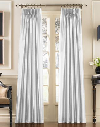 Marquee Faux Silk Pinch Pleat Back Tab Lined Curtain Panel Lined Curtains Panel Curtains Living Room Inspo