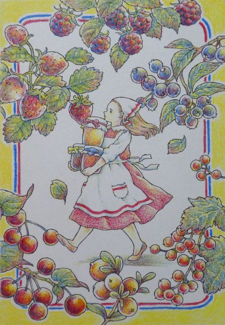 完成 クーピーで3色塗りしてみました 人物編 森の少女の物語より 塗り絵日記 かわいい イラスト 手書き 色鉛筆アート フルーツアート