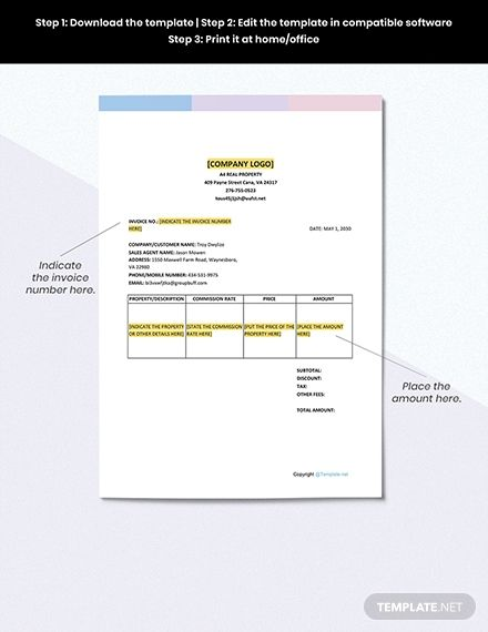 Simple Real Estate Invoice Template Free Pdf Google Docs Google Sheets Excel Word Template Net Invoice Template Document Templates Template Free