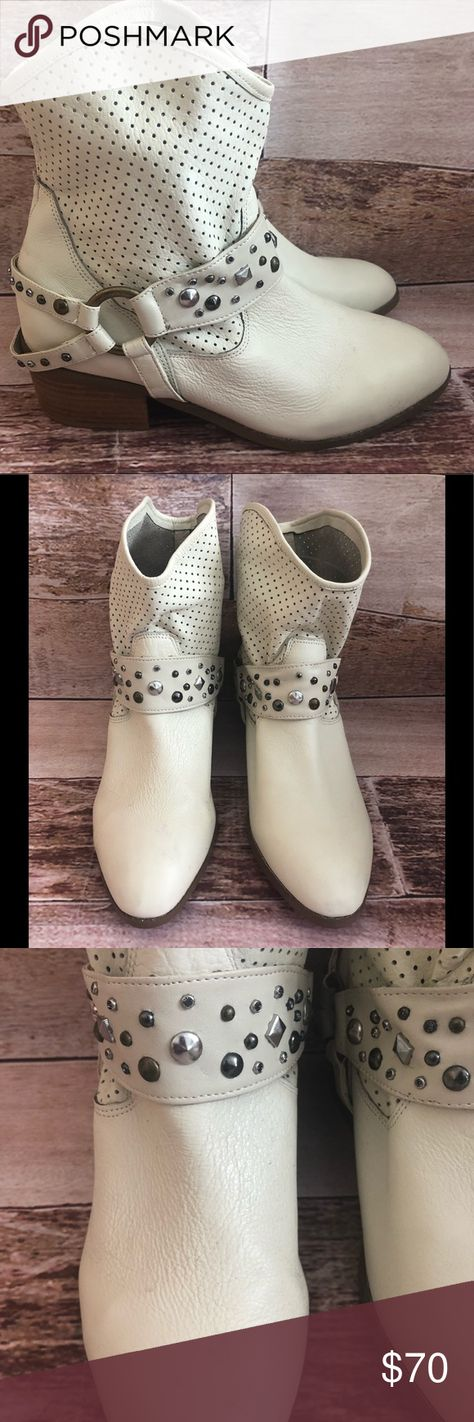 4e22880855 Twiggy LondonLeather Slip Studded Western booties Twiggy London Winter White  Leather Slip Studded Western Ankle Boots Size 7 w. More of a off white  creamy ...