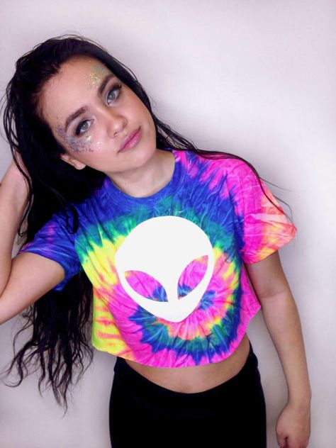 Tie Dye Rave Crop Top • Alien Crop Top • Music Festival Clothing • Tumblr Crop Top • Rave Outfit « cd100neonrainbow «« (crew, td tee/sc) « by TheBohipstian on Etsy https://www.etsy.com/listing/520233717/tie-dye-rave-crop-top-alien-crop-top