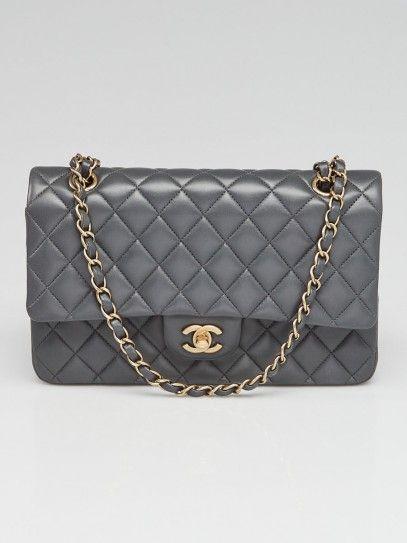Chanel Charcoal Grey Quilted Lambskin Leather Classic Medium Double Flap Bag Medium Handbags Burberry Handbags Chanel Classic