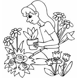 Gardener Sitting In Flowers Printable Coloring Page Free To