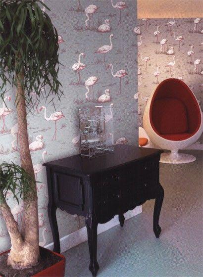 Badezimmer Englisch Retro Flamingo Tapete Shabby Chic Tapete Design Tapeten