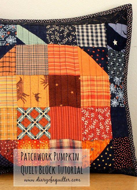 Patchwork Pumpkin pillow and table runner tutorial