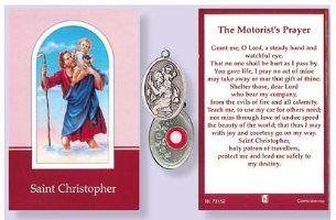 THE MOTORIST/'S PRAYER SAINT CHRISTOPHER LAMINATED PRAYER CARD WITH RELIC