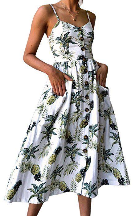 Womens Dresses Summer Sleeve Less Bohemian Spaghetti Strap Button Midi Dress with Pockets Midi Dress for Women