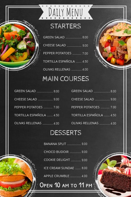 Chalkboard Menu Template Food Menu Design Food Menu Restaurant Menu Design