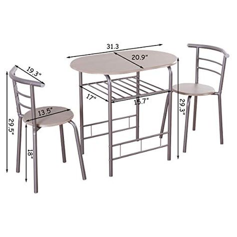 Dining Set Table 2 Chairs Bistro Pub
