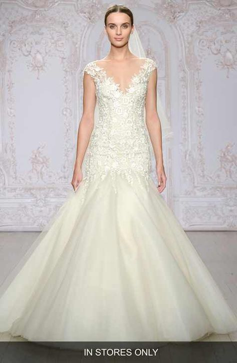 Monique Lhuillier \'Roslyn\' Embroidered Illusion Tulle Trumpet Gown ...