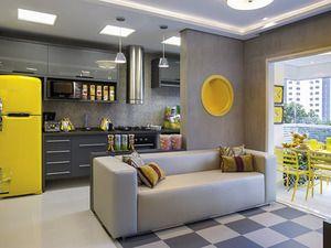 Cozinha americana yellow + grey