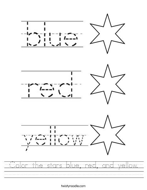 Color The Stars Blue Red And Yellow Worksheet Twisty Noodle Yellow Words Color Worksheets Preschool Colors