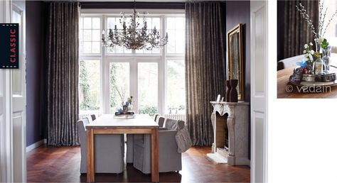 Een chique, klassieke uitstraling in huis, bereik je met rijk geplooide en gevoerde gordijnen. Met de dessins kun je alle kanten op. Glanzende stoffen met bloemen en krullen hebben staan chique en stijlvol, maar ook een patroon met streep staat prachtig in een chique interieur. Heb je hoge ramen? Met embrasses oogt je raam nog stijlvoller!vadain.nl