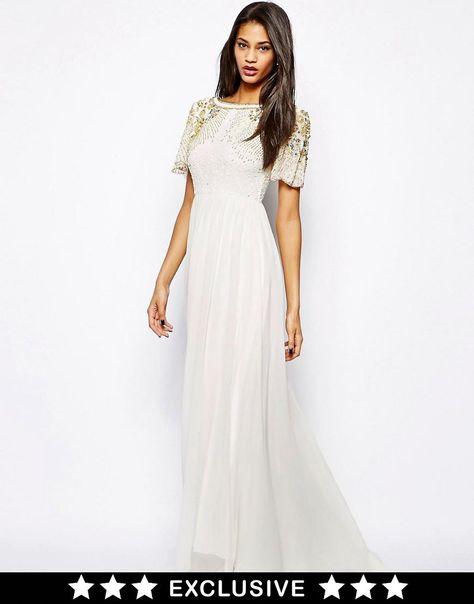 Virgos Lounge   Virgos Lounge Raina Maxi Dress with Embellished Shoulder at ASOS