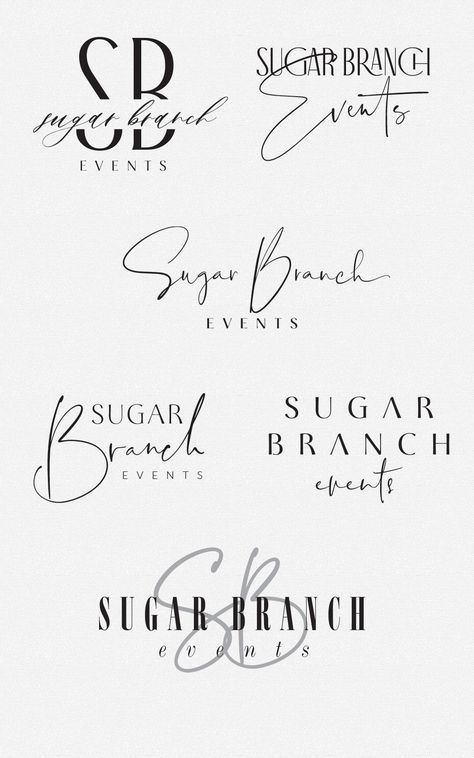 sleek and sassy logo design options for Sugar Branch Events by Fancy Girl Design Studio inspiration design design inspiration web design graphic design web design inspiratio Resume Logo, Logo Branding, Typography Logo Design, Logo Desing, Branding Ideas, Packaging Ideas, Typography Fonts, Packaging Design, Portfolio Graphic Design