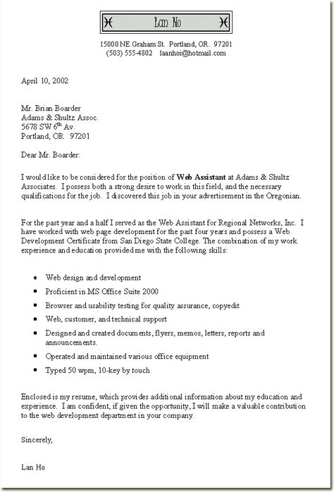 Cover Letter Template With Bullet Points #bullet #cover ...