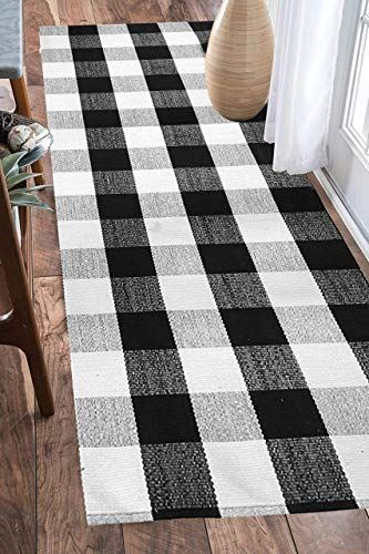 Best Seller Earthall Cotton Buffalo Black White Plaid Rugs Hand Woven Check Door Mat Hallway Runner Washable In 2020 Plaid Rug Black White Rug Runner Rug Entryway