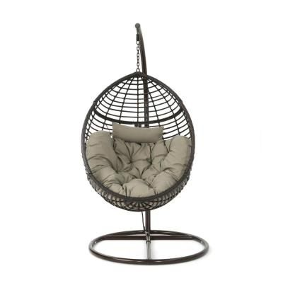 Noble House Multi Brown Steel Egg Shaped Patio Swing With Khaki