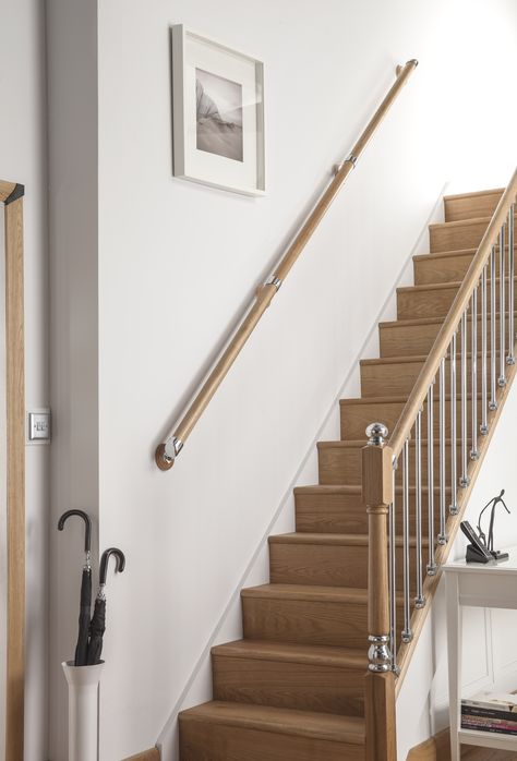 Wall Mounted Wooden Handrails Modern Contemporary