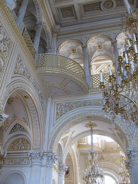 RUSSIA – Pavillion Hall, Small Hermitage, the Hermitage Museum, Saint Petersburg. Architecture Baroque, Beautiful Architecture, Beautiful Buildings, Architecture Details, Interior Architecture, Beautiful Places, Russian Architecture, Ancient Architecture, Palaces