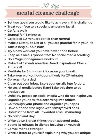 30 Day Mental Cleanse Challenge Self Care Activities Health