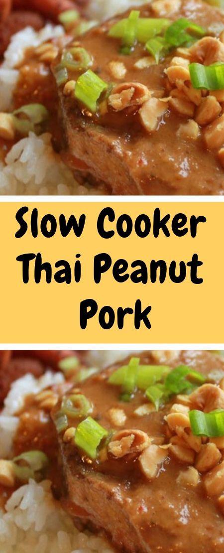 "Slow Cooker Thai Peanut Pork ""This is a easy pork dish that"