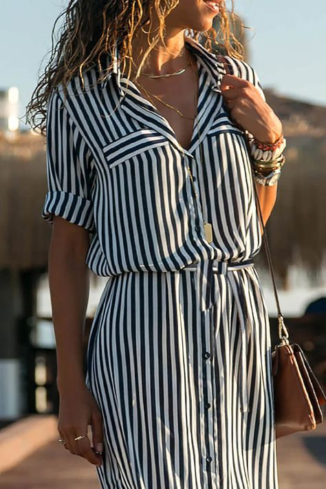 Black-White Half Sleeve Striped Shawl Collar Casual Dresses - Plus Size Casual Dresses - Ideas of Plus Size Casual Dresses - Black-White Half Sleeve Striped Shawl Collar Casual Dresses ZUCHIC