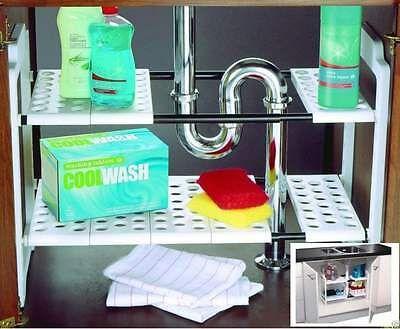 Under Sink Storage Shelf Shelves Organizer Space Saving Tidy Rack Cupboard Addis 692453880089 Ebay In 2020 Under Sink Storage Under Sink Storage Unit Kitchen Sink Storage
