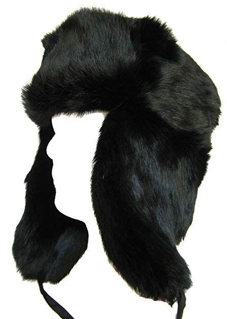 a8f13dc82 Klondike Sterling Russian Rabbit Fur Trooper Hat Ear Flaps Black ...