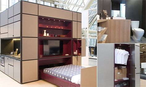 When the bed in the 51 Apartment folds out, bedside storage is - küchen modern design