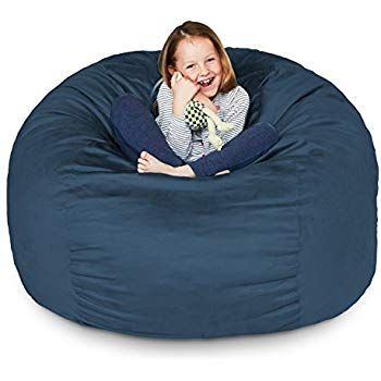 Amazon Com Lumaland Luxury 6 Foot Bean Bag Chair With Microsuede Cover Black Machine Washable Big Size Sofa Bean Bag Chair Bean Bag Chair Kids Washable Sofa