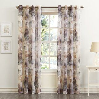 No 918 Andorra Watercolor Floral Textured Sheer Single Curtain