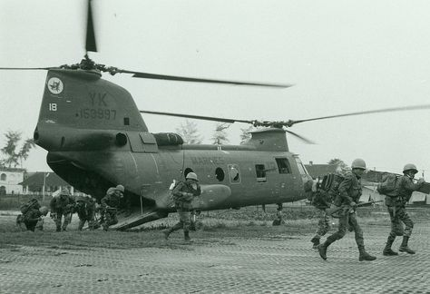 A Marine Aircraft Group 36 [MAG-36] helicopter drops off a unit of Vietnamese Marines in the city of Hue to reinforce ground elements already engaged in the battle for control of the city. MAG-36 choppers have been flying emergency medical evacuations, resupply and troop lifts into Hue since late January (official USMC photo by Staff Sergeant W. F. Schrider).