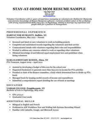 Stay At Home Mom Resume Sample With Continuous Work Experience Resume Writing Examples Stay At Home Mom Resume Examples