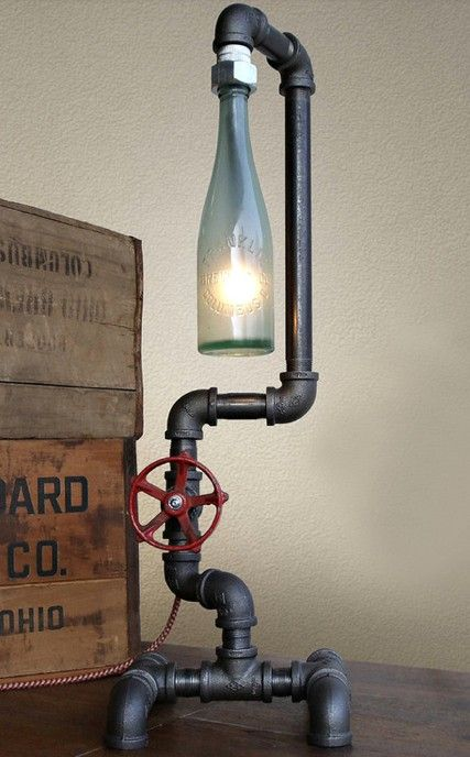 Cool desk lamp with industrial eclectic look, vintage pipe