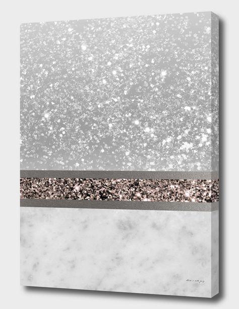Marble Rose Gold Glitter Stripe Glam Canvas Print by Anita's & Bella's Art Glitter Accent Wall, Glitter Tiles, Glitter Paint For Walls, Glitter Wall Art, Glitter Canvas, Glitter Wallpaper, Glitter Ceiling, Glitter Home Decor, Gold Canvas